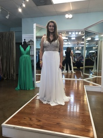 Queenly size 12  White A-line evening gown/formal dress