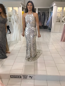 Silver Size 2 Straight Dress on Queenly