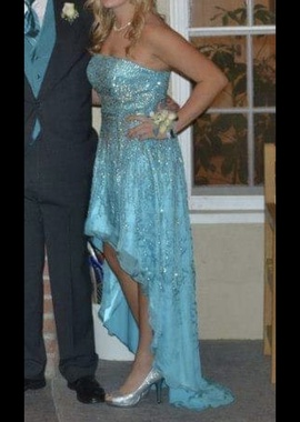 Sherri Hill Blue Size 12 Plus Size Tall Height A-line Dress on Queenly
