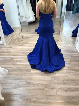 Sherri Hill Blue Size 8 Backless Ruffles Strapless Straight Dress on Queenly