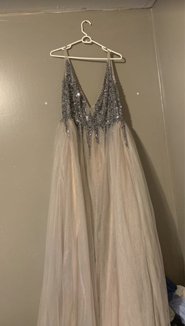 Silver Size 16 Train Dress on Queenly