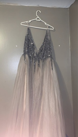 Queenly size 16  Silver Train evening gown/formal dress