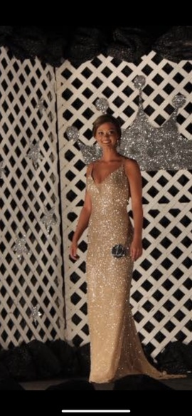Sherri Hill Gold Size 4 Jewelled Pageant Backless Straight Dress on Queenly