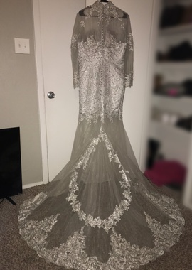 Silver Size 18 Mermaid Dress on Queenly