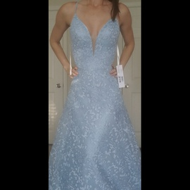 Queenly size 4 Jovani Blue A-line evening gown/formal dress