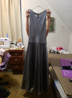 Queenly size 12 JS Collections Silver A-line evening gown/formal dress