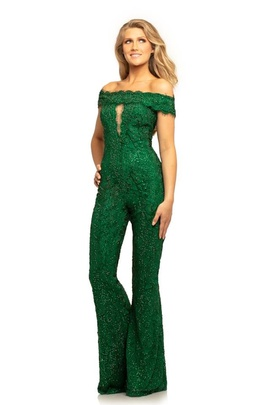 Queenly size 10 Johnathan Kayne Green Romper/Jumpsuit evening gown/formal dress