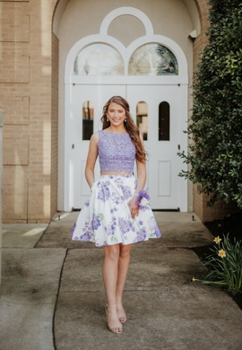 Sherri Hill Light Purple Size 6 Mini Two Piece Lace Cocktail Dress on Queenly