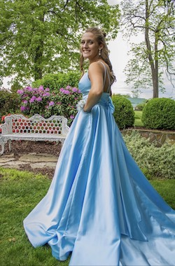 Sherri Hill Blue Size 8 Backless Ball gown on Queenly