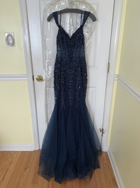 Jovani Blue Size 0 Jewelled Mermaid Dress on Queenly