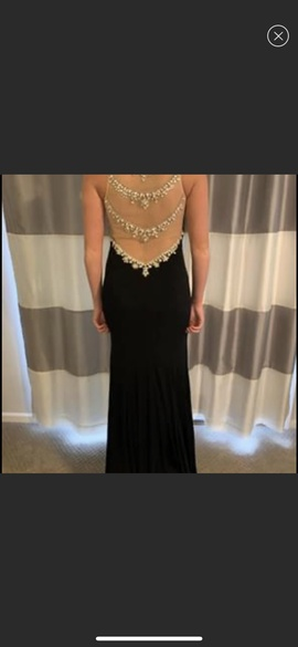 Jovani Black Size 4 Jewelled Sheer Straight Dress on Queenly