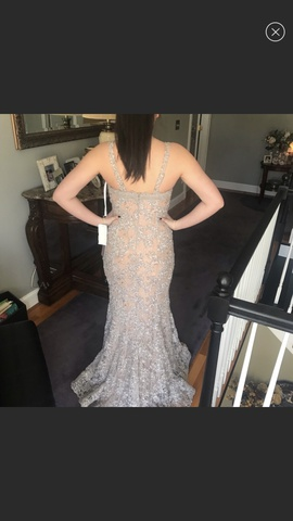 Jovani Nude Size 2 Lace Mermaid Dress on Queenly