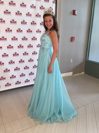 Jovani Blue Size 0 Tulle Lace A-line Dress on Queenly