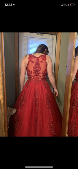 Jovani Red Size 6 Prom Lace Ball gown on Queenly