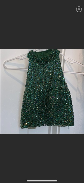 Sherri Hill Green Size 0 Halter Sequin Ball gown on Queenly