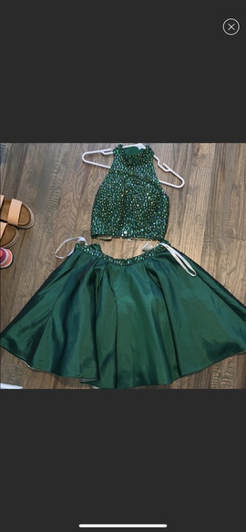 Sherri Hill Green Size 0 Halter Two Piece Ball gown on Queenly