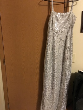 Queenly size 8  Silver Straight evening gown/formal dress