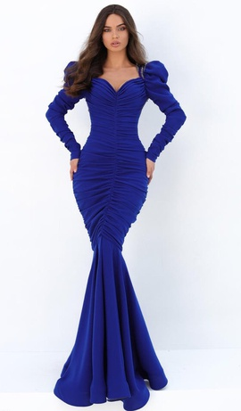 Tarik Ediz Royal Blue Size 8 Long Sleeve Mermaid Dress on Queenly