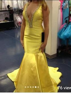 Rachel Allan Yellow Size 2 Rachel Allen Backless Sequin Mermaid Dress on Queenly