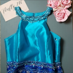 Queenly size 18 Rachel Allan Blue Mermaid evening gown/formal dress