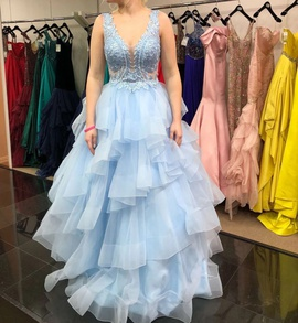 Ellie Wilde Blue Size 4 Backless Sheer Ball gown on Queenly