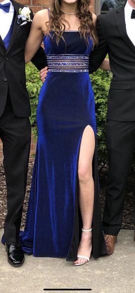 Ellie Wilde Blue Size 2 Strapless Side slit Dress on Queenly
