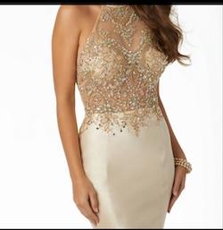Mori Lee Gold Size 2 Halter Sequin Mermaid Dress on Queenly