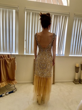 Sherri Hill Nude Size 0 Tulle Mini Backless Straight Dress on Queenly