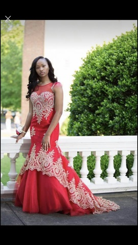 Tiffany Designs Red Size 4 Prom Embroidery Train Mermaid Dress on Queenly
