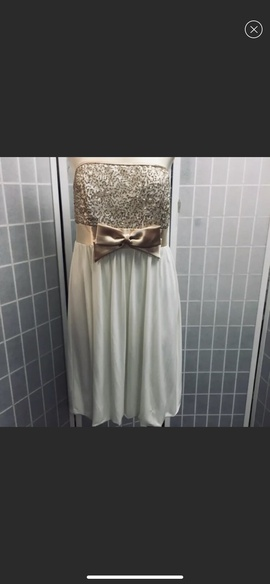 Jessica McClintock White Size 12 Strapless Plus Size Shiny Cocktail Dress on Queenly