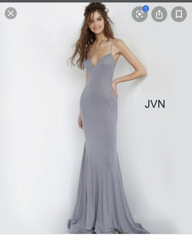 Jovani Silver Size 6 Backless Train Dress on Queenly