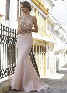 Mori Lee Light Pink Size 8 Halter Prom Train Dress on Queenly