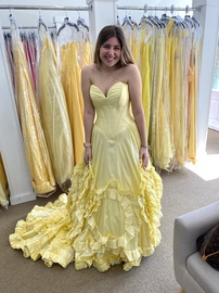 Queenly size 8 Sherri Hill Yellow Ball gown evening gown/formal dress