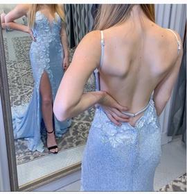 Jovani Blue Size 8 Backless Train Side slit Dress on Queenly