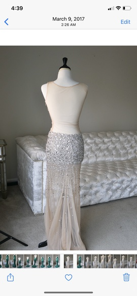 Jovani Silver Size 2 Sheer Tall Height Mermaid Dress on Queenly