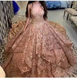 Queenly size 4 Quinceaera Gold Ball gown evening gown/formal dress