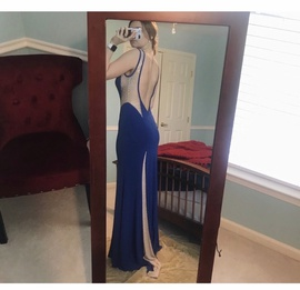 Jovani Blue Size 4 Sheer Straight Dress on Queenly