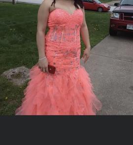Jovani Multicolor Size 16 Sweetheart Orange Mermaid Dress on Queenly