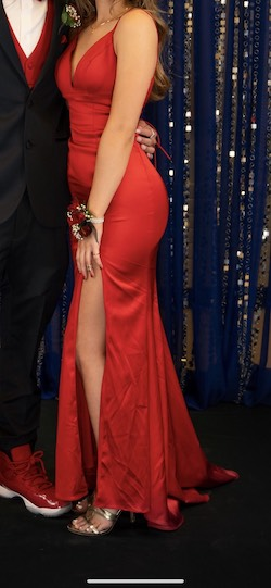 Sherri Hill Red Size 2 Backless Corset Side slit Dress on Queenly