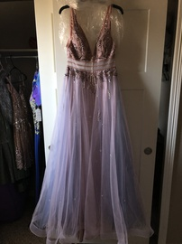 Gianni Bini Pink Size 10 Light Purple Plunge Shiny A-line Dress on Queenly