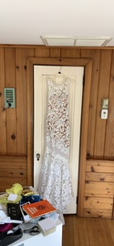 Queenly size 0 Johnathan Kayne White Mermaid evening gown/formal dress