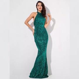 Love & Lemonade Green Size 2 Halter Shiny Mermaid Dress on Queenly