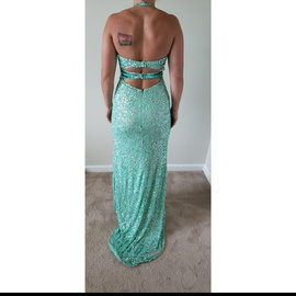 Mac Duggal Blue Size 6 Pageant Side slit Dress on Queenly