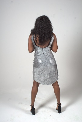MYSTiiK Styles Silver Size 6 Homecoming Jersey Mini Cocktail Dress on Queenly