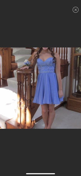 Sherri Hill Light Blue Size 4 Strapless Straight Dress on Queenly