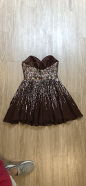 Sherri Hill Silver Size 6 Belt Strapless Cut Out Cocktail Dress on Queenly