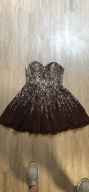 Queenly size 6 Sherri Hill Silver Cocktail evening gown/formal dress