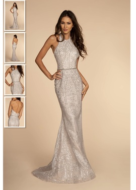 Queenly size 2  Silver Train evening gown/formal dress