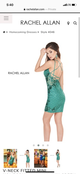 Rachel Allan Green Size 6 Mini Homecoming Cocktail Dress on Queenly