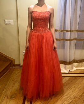 Alyce Paris Red Size 4 Strapless Alyce Designs Ball gown on Queenly